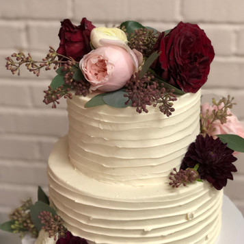 Two Tier Cake with Textured Buttercream and Fresh Flowers