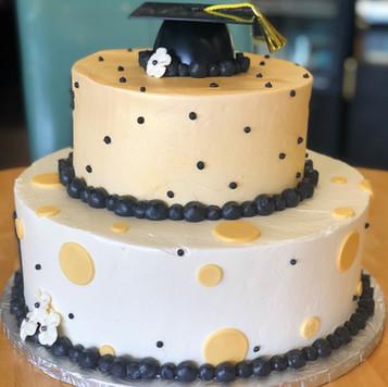 Two Tier Black & Gold Graduation Cake