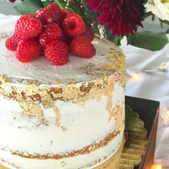 Semi Naked Gold Leaf & Fresh Raspberries