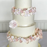 Blush Floral Wreath Tiered Cake