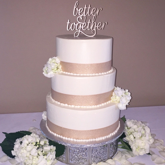 "White and Taupe ""Better Together"" Cake"