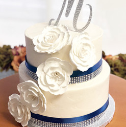 Navy & Rhinestone with Gumpaste Flowers