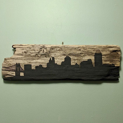 Cincinnati Skyline on Driftwood