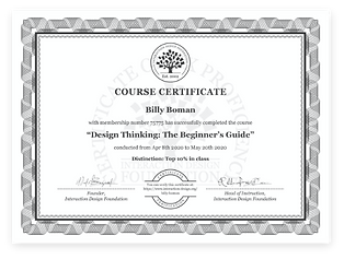Design Thinking Course Certificate