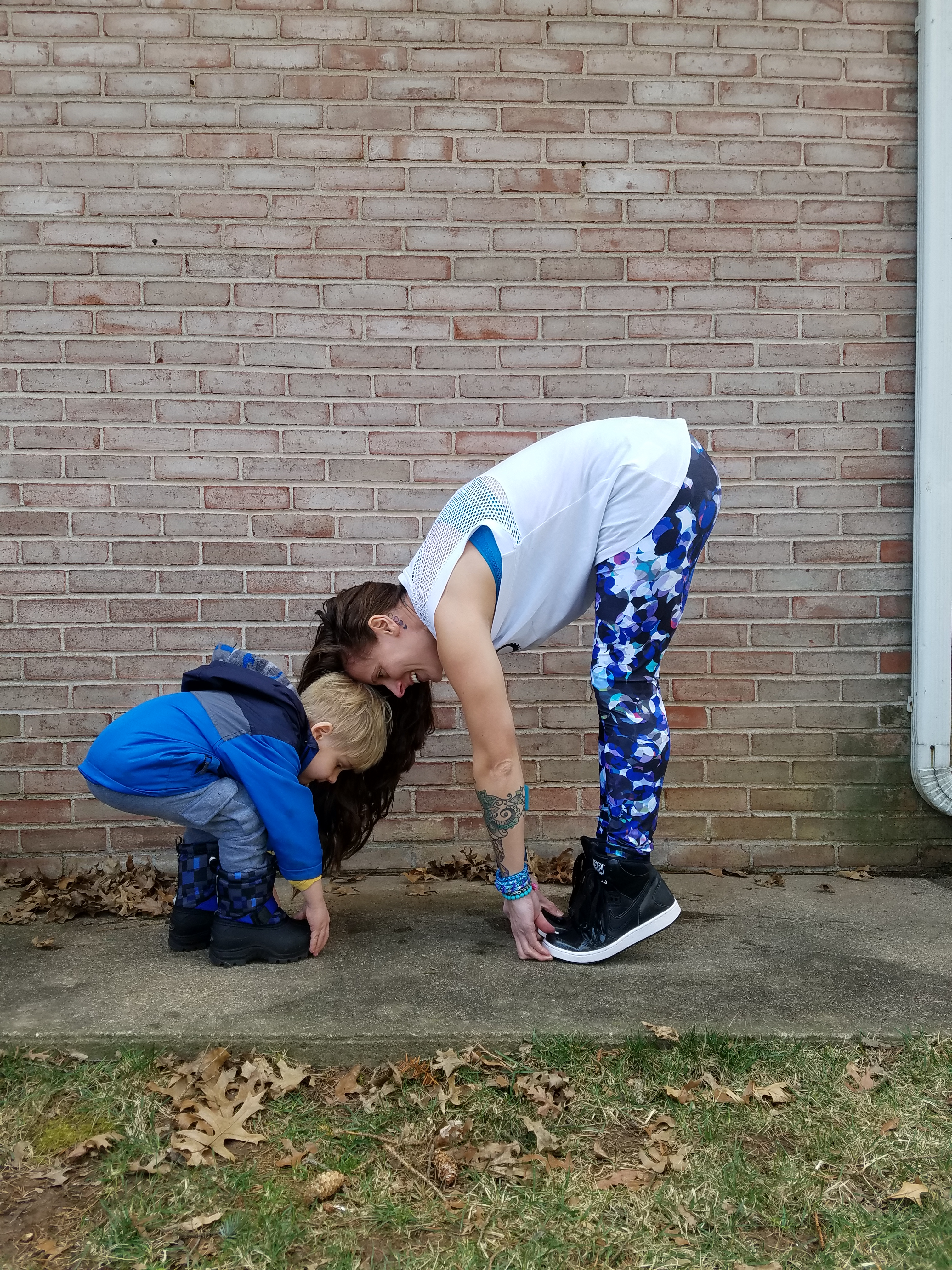 Stretching with my son