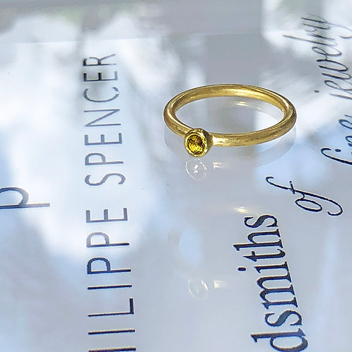 .17 ct Natural Yellow Rose Cut Diamond Ring (Nestable)