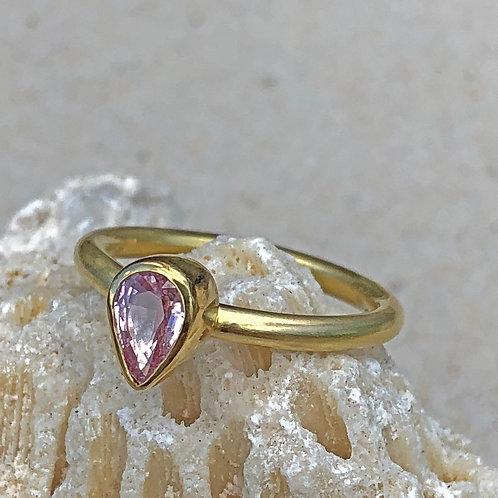 .75 ct Pink Teardrop Fancy Sapphire & 22K/20K Gold Ring (Nestable)