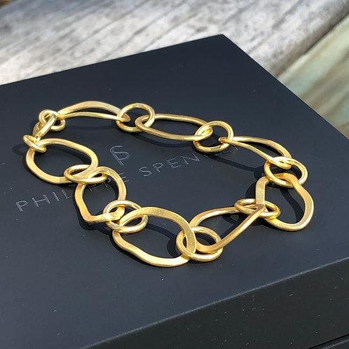 20K Hand-Forged Oval Signature Link Bracelet
