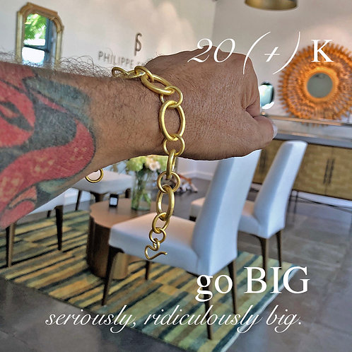 20K (+) Solid Gold XL Badass Bracelet with Near Colorless Diamonds