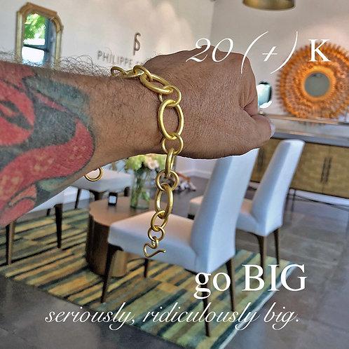 20K (+) Solid Gold XL Badass Bracelet with Near Colorless Diamonds