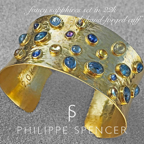 (SOLD) 16.5 ct Total Fancy Sapphires (21) ea set in 22K Bezels & 20K Gold Cuff