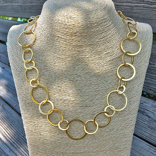 """22"""" Inch 20K Hand-Forged Round Signature Link Necklace"""
