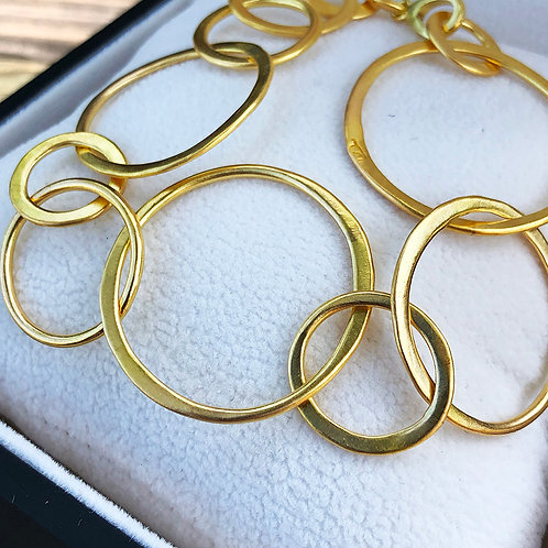20K Hand-Forged Round Signature Link Bracelet