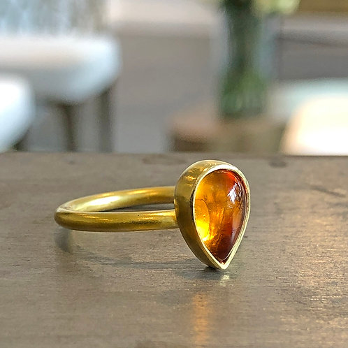 1.8 ct Gold Citrine Teardrop Solitaire Ring  (Nestable)
