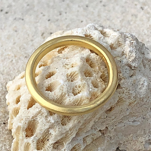 """20K Gold Hand-Carved & Hammered """"ROUNDED"""" Band (Medium Thickness)"""