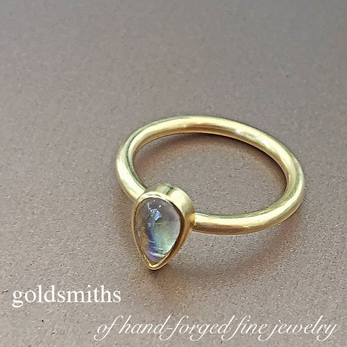 .80 ct Teardrop Rainbow Moonstone Ring  (Nestable)