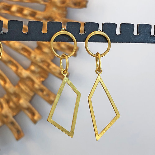 Hand-Forged 20K Gold Geometric Earrings