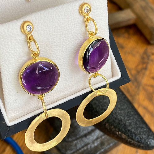 33.84 ct Amethyst's, 1/3 ct (total) Diamonds & Hand-Forged 20K Gold Earrings