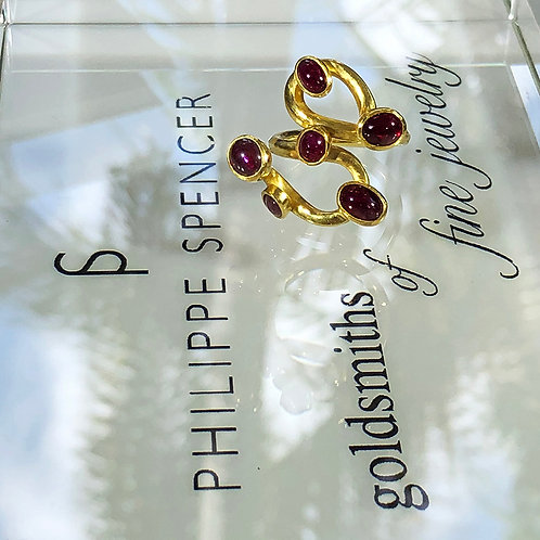 """Hand-Carved Collection"" 4.83 ct Total Rubies & 22K/20K Gold Statement Ring"