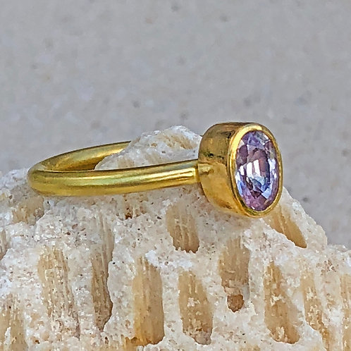 .96 ct Lavender Faceted Fancy Sapphire & 22K/20K Gold Ring (Nestable)