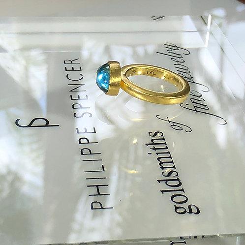 8.3 ct Extra Fine Oval Aquamarine Cabochon Statement Ring