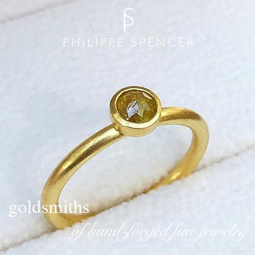 .40 ct Natural Yellow Rose Cut Diamond Ring (Nestable)