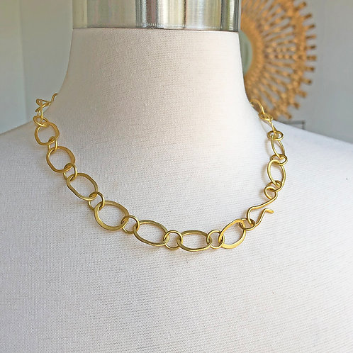 """19""""-20"""" Inch 20K Hand-Forged (Oval) Signature Link Necklace"""