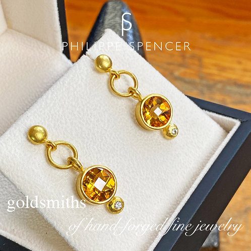 6.84 ct  Gold Citrine Earrings set in pure 22K Gol