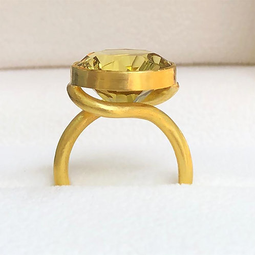 12.4  ct Celadon Citrine set in 22K Gold