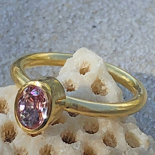 .78 ct Pink Oval Fancy Sapphire & 22K/20K Gold Ring (Nestable)
