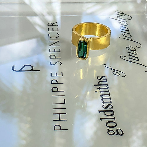 1.8 ct Extra Fine Green Tourmaline Baguette wrapped in 22K Gold