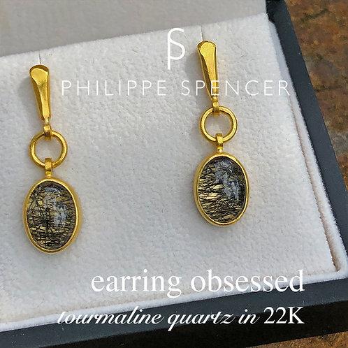 Black Tourmaline Quartz wrapped in 22K Earrings (post)