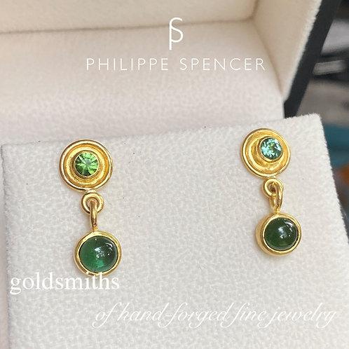 3.78 ct Dangling Green Tourmaline Earrings