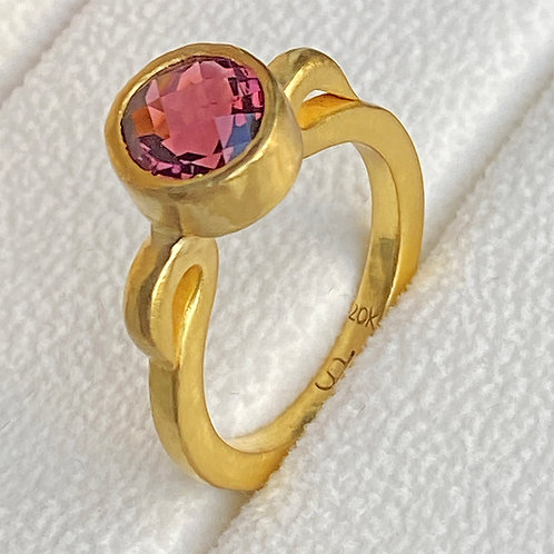 3.2 ct Rose Tourmaline in 22K Gold Bezel & 20K Gold Hand-Forged Statement Ring
