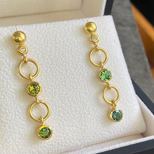 1.82 ct Mixed Green Tourmaline's & Diamond Earrings