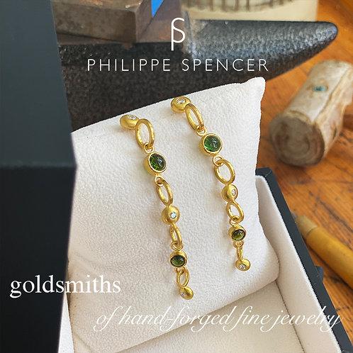 Green Tourmaline & Near Colorless Diamond Earrings