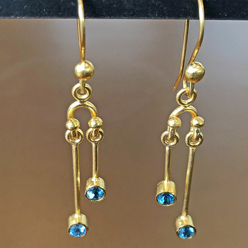 Blue Topaz and 20K Gold Hand-Forged Statement Earrings
