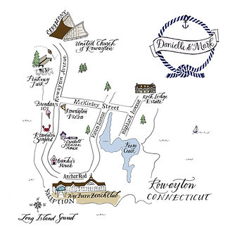 Illustrated Calligraphy Wedding Map of Rowayton Connecticut | Lettering Matters