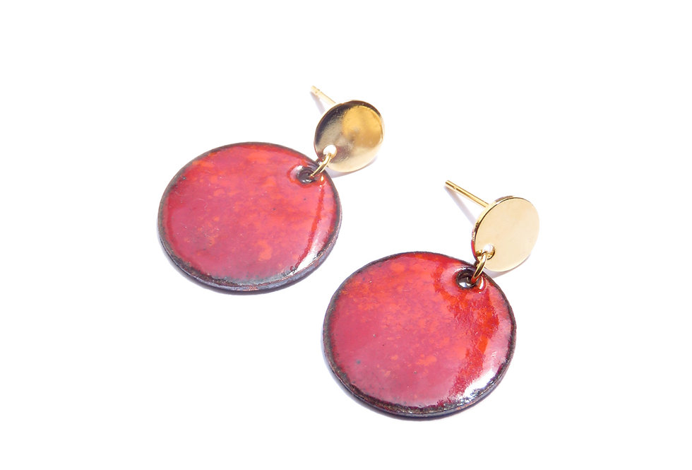 SR/ FRESH RED SWINGING EARRING CIRCLE