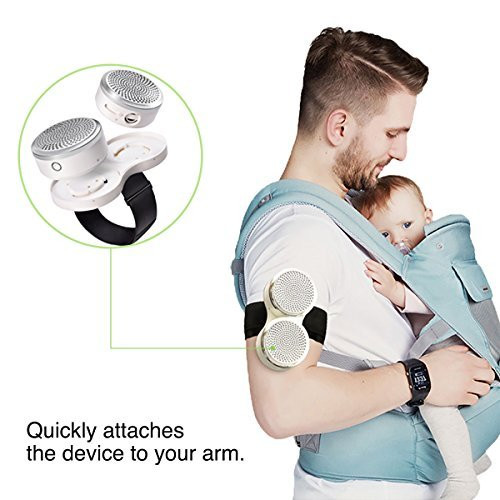air purifier worn on armband with baby
