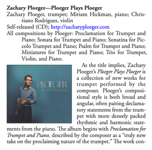 "Review of ""Ploeger Plays Ploeger"" in the ITG Journal"