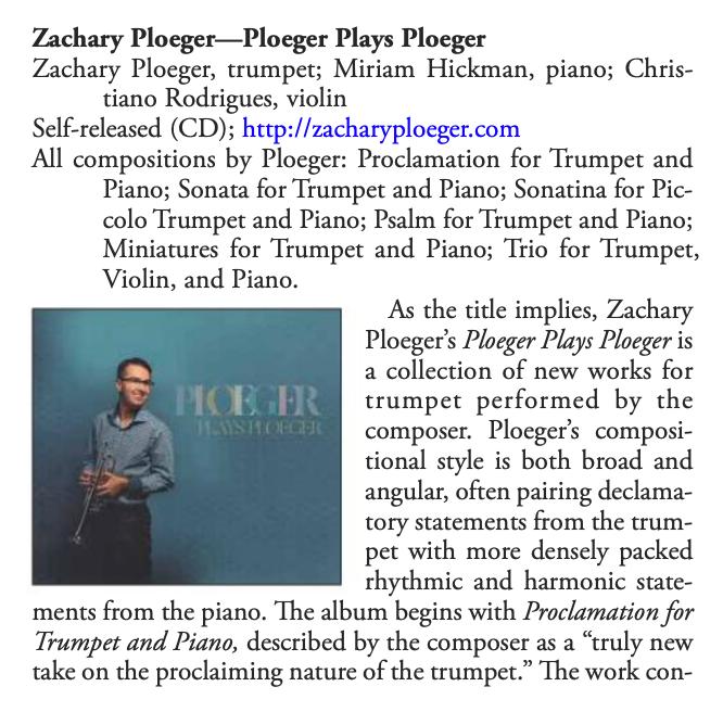"Review of ""Ploeger Plays Ploeger"" in the ITG Journal"