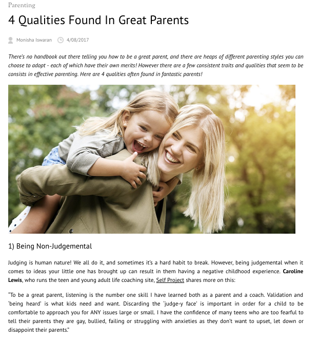 4 Qualities Found in Great Parents | The SELF Project | Caroline Lewis