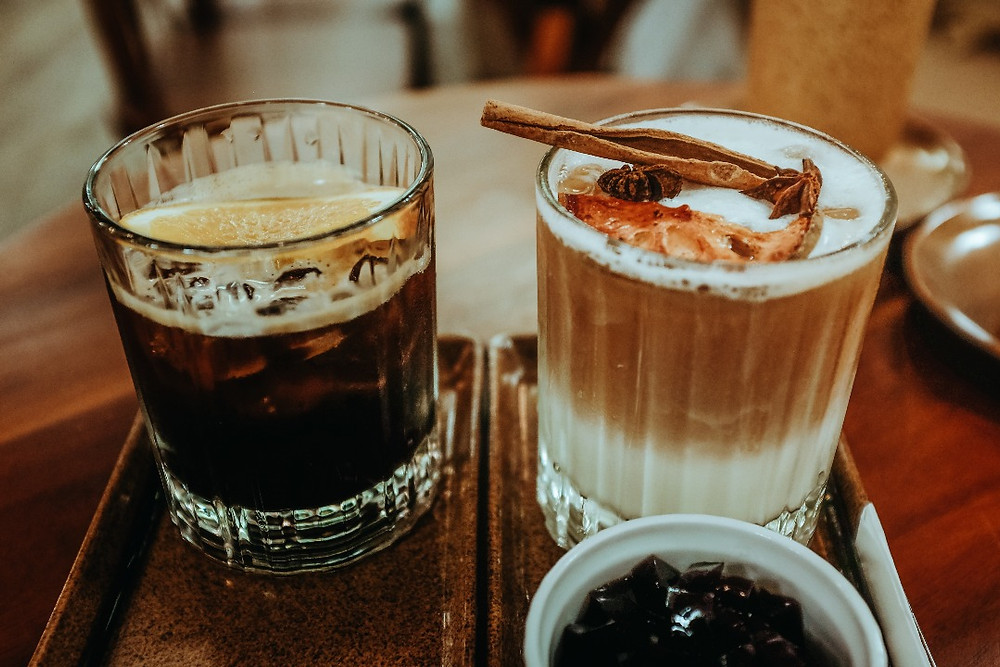 cafe mật ong và trà sữa