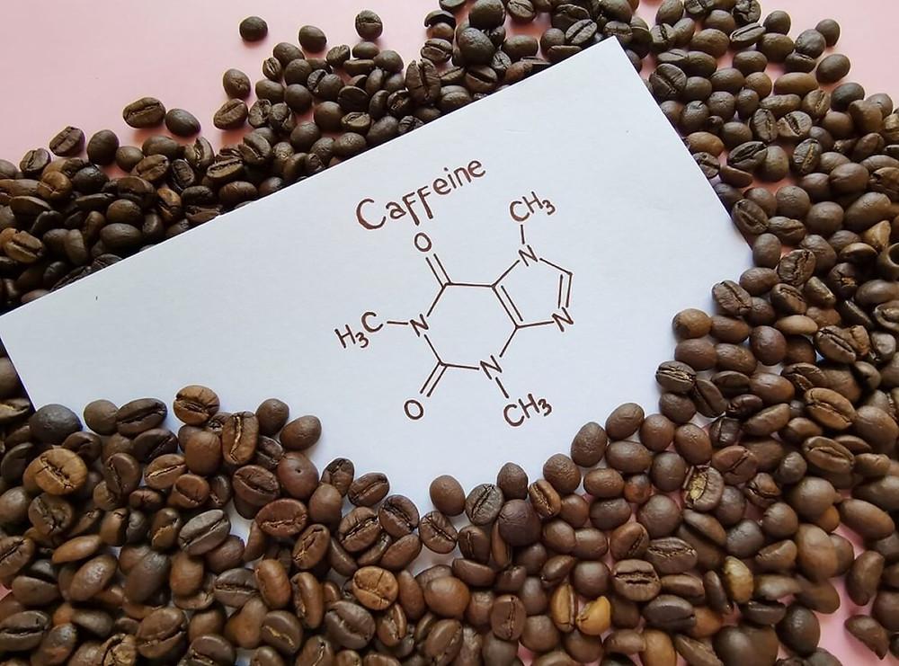 công thức hóa học của caffeine đặt cạnh hạt cà phê