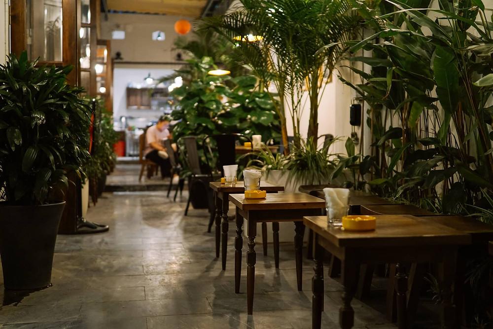 lối đi của quán cà phê với bàn ghế và cây cảnh