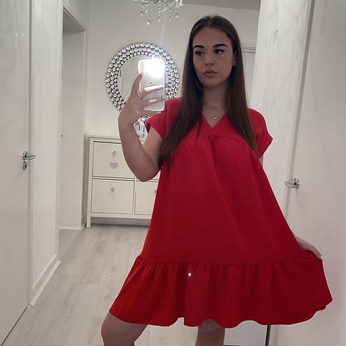 Red v neck swing dress