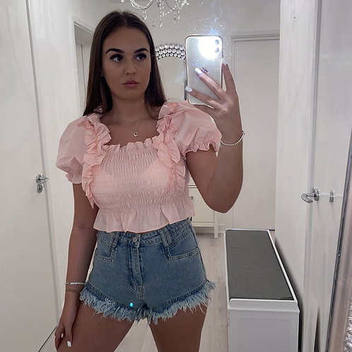 Pink cropped ruffle top