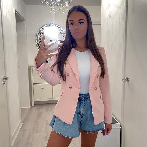 Pink gold button blazer
