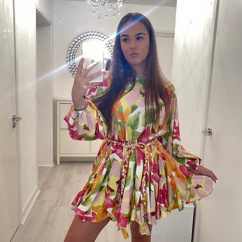 Floral ruffle belt dress